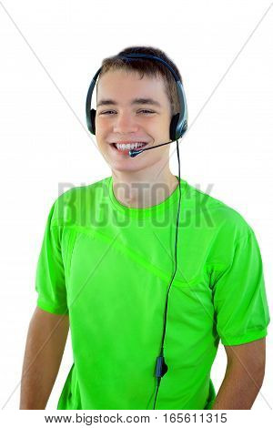 Young Man With Headset Smiling