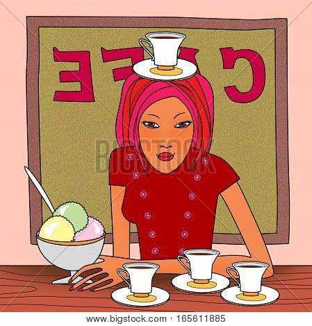 Woman at a table in a cafe with ice cream and 4 cups of coffee