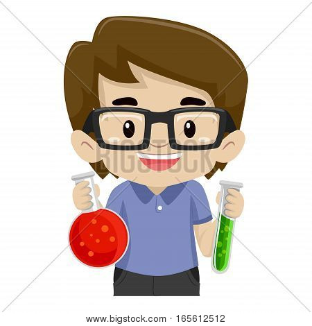 Illustration of a Boy Holding Laboratory Test Tubes
