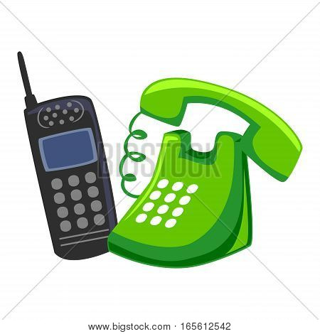 Illustration of Mobile Phone and Chord Telephone