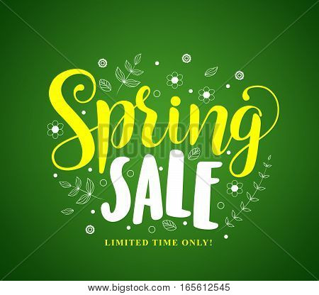 Spring sale vector banner design in green background with flowers and leaves drawings for seasonal marketing promotion. Vector illustration.