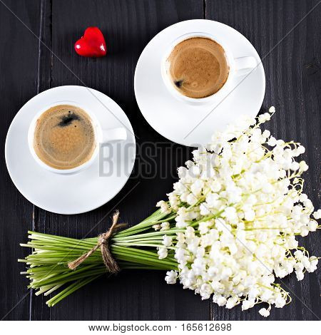 Espresso, Heart And Bouquet Of Flowers