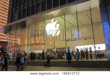 SHANGHAI CHINA - OCTOBER 30, 2016: Unidentified people visit Apple store Nanjing Road.