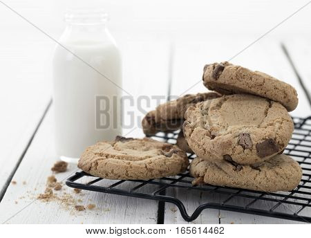 Fresh Homemade Cookies and Milk on a cooling tray