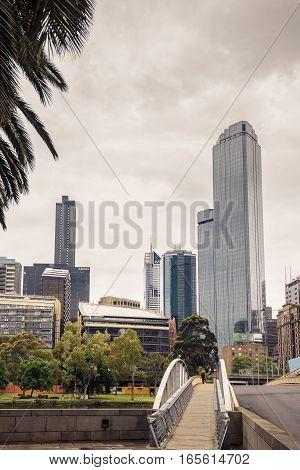 Melbourne Australia - December 27 2016: Melbourne City Business District viewed across the Yarra River bridge