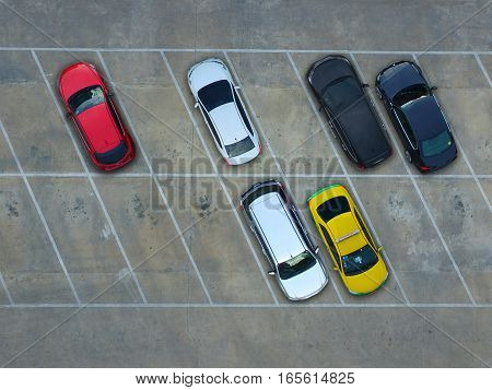 Empty parking lots in supermarket, aerial view.