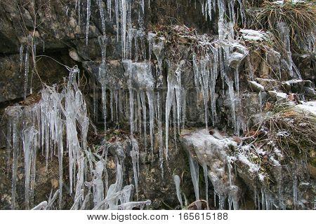 Beautiful winter ice waterfall in Italy, Umbria
