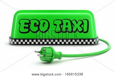 ECO Taxi concept with green taxi car roof sign and the cable - 3D illustration