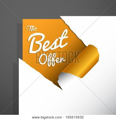 'The Best Offer' text uncovered from teared paper corner.