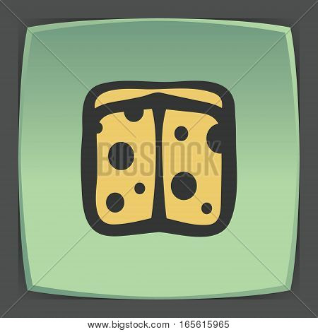 Vector outline sliced cheese circle food icon on green flat square plate. Elements for mobile concepts and web apps. Modern infographic logo and pictogram.