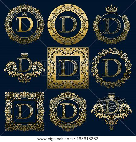 Vintage monograms set of D letter. Golden heraldic logos in wreaths round and square frames.