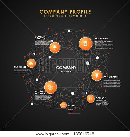 Company profile overview template with orange circles and dots - dark version.
