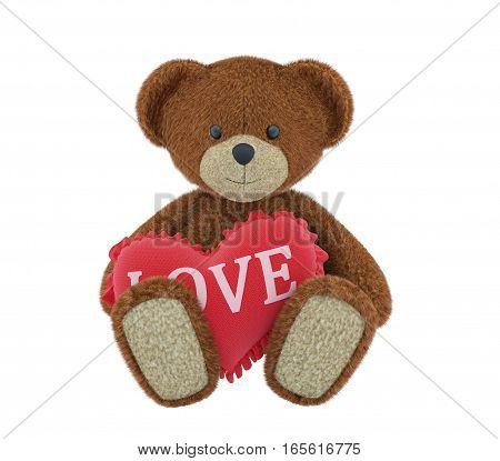 Teddy bear holding a heart-shaped pillow. 3d rendering