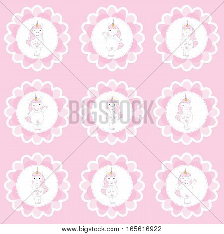 Birthday cupcake topper with cute unicorns on flowers frame suitable for birthday party cupcake topper, sticker set, and clip art