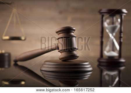 Law and justice theme, gavel of judge, legal code and scale of justice