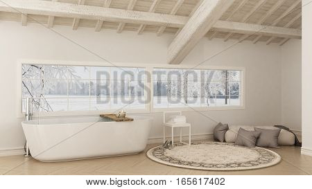 Scandinavian white bathroom loft minimalistic interior design snow mountain background, 3d illustration