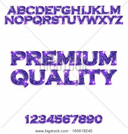 Premium quality. Golden glowing violet alphabet and numbers on a white background. Vector illustration for your graphic design.