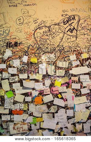 VERONA, ITALY - MAY 1,2016: Part of the wall covered with love messages in Juliet house Verona Italy