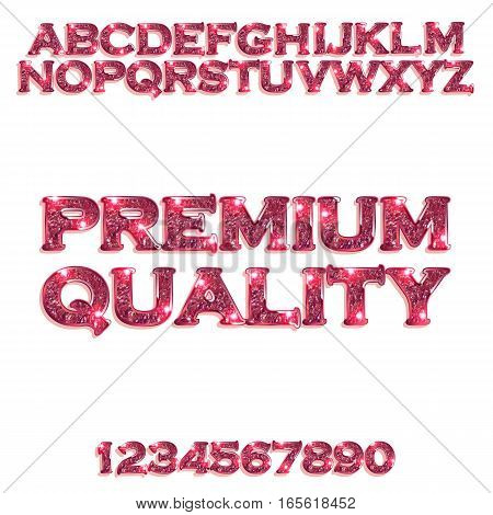 Premium quality. Golden glowing red alphabet and numbers on a white background. Vector illustration for your graphic design.