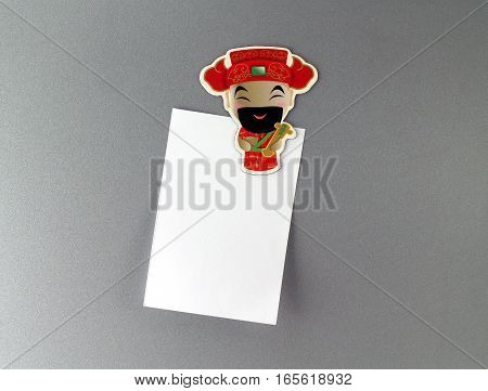 Chinese God fridge magnet with blank note, Chinese new year festive souvenir for home decorations
