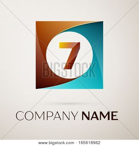 Number seven vector logo symbol in the colorful square on grey background. Vector template for your design