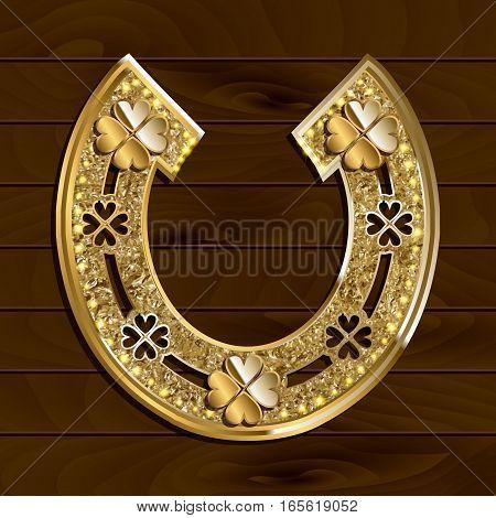 Golden Horseshoe On Wooden Background