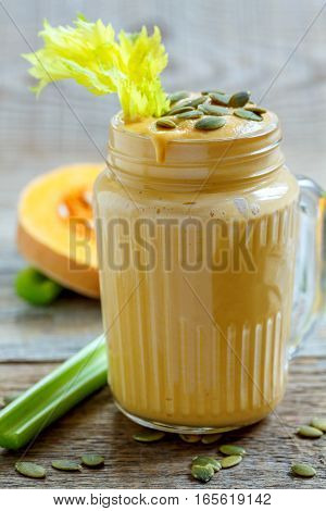 Healthy Pumpkin Spice Smoothie With Celery, Bananas And Seeds.