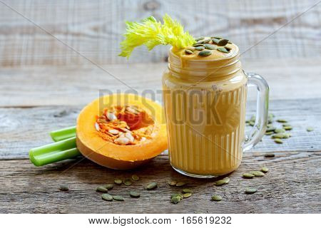 Smoothies Pumpkin,celery And Bananas With Seeds.