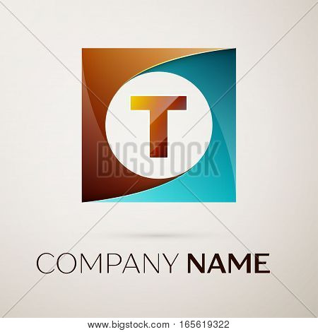 Letter T vector logo symbol in the colorful square on grey background. Vector template for your design