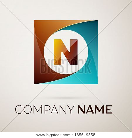 Letter N vector logo symbol in the colorful square on grey background. Vector template for your design