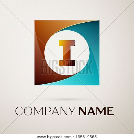 Letter I vector logo symbol in the colorful square on grey background. Vector template for your design