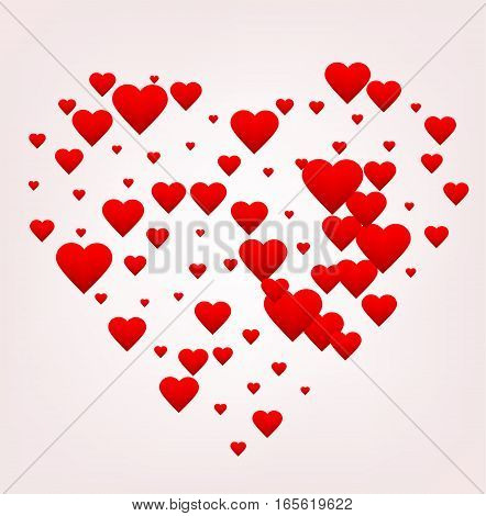 Happy Valentine's day greeting card. Red heart shape made of many little hearts greeting card about love. Poster print. Vector illustration. EPS10