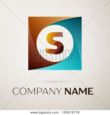Letter S vector logo symbol in the colorful square on grey background. Vector template for your design
