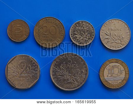 French Franc Coins, France Over Blue