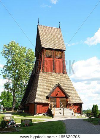 Unique Wooden Bell Tower of the Old Church in Gamla Uppsala, Uppsala, Sweden, Scandinavia