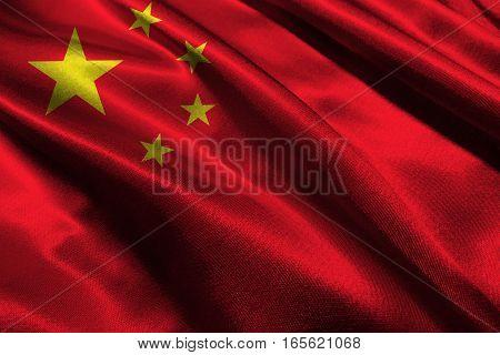 China flag ,3D China national flag 3D illustration symbol.