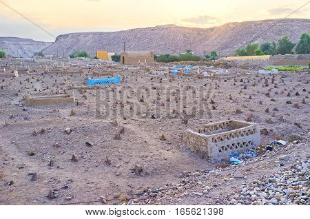 The old muslim cemetery in the Upper Egyptian village of Nagaa Al Khalasab.
