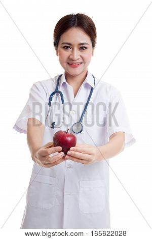 Young Asian Female Doctor Show An Apple.