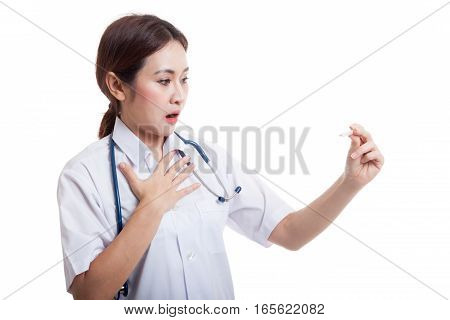 Young Asian Female Doctor  Worry Look At  Thermometer.