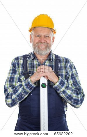 Picture of a confident engineer holding a spirit-level
