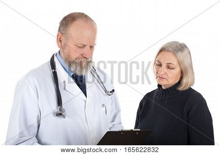 Picture of a worried female patient and her doctor