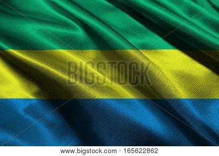 Gabon flag ,Gabon national flag 3D illustration symbol.