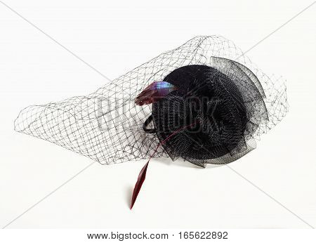 Black Teardrop Funeral Hat with Veil and Feathers.