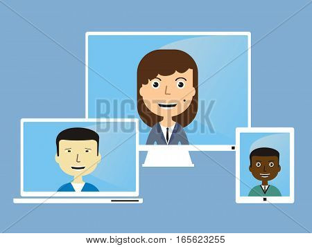 face in the monitor. Communication concept. vector