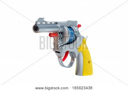 Toy plastic silver hand gun isolated on white background