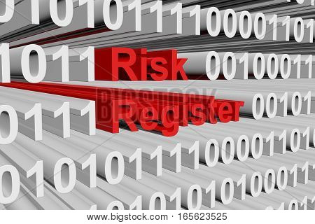 Risk register in the form of binary code, 3D illustration