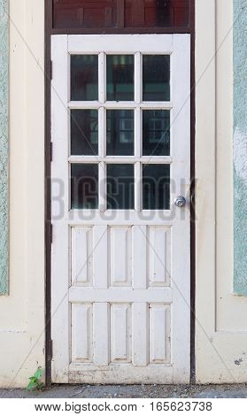 White Wall And Wooden Door, Background Texture.