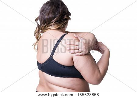 Plus size model in black lingerie overweight female body fat woman posing isolated on white background back view