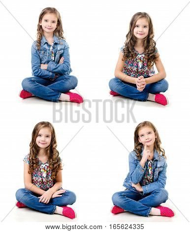 Collection of photos adorable smiling little girl sitting on a floor isolated on a white