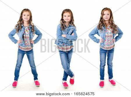 Collection of photos adorable smiling little girl standing isolated on a white